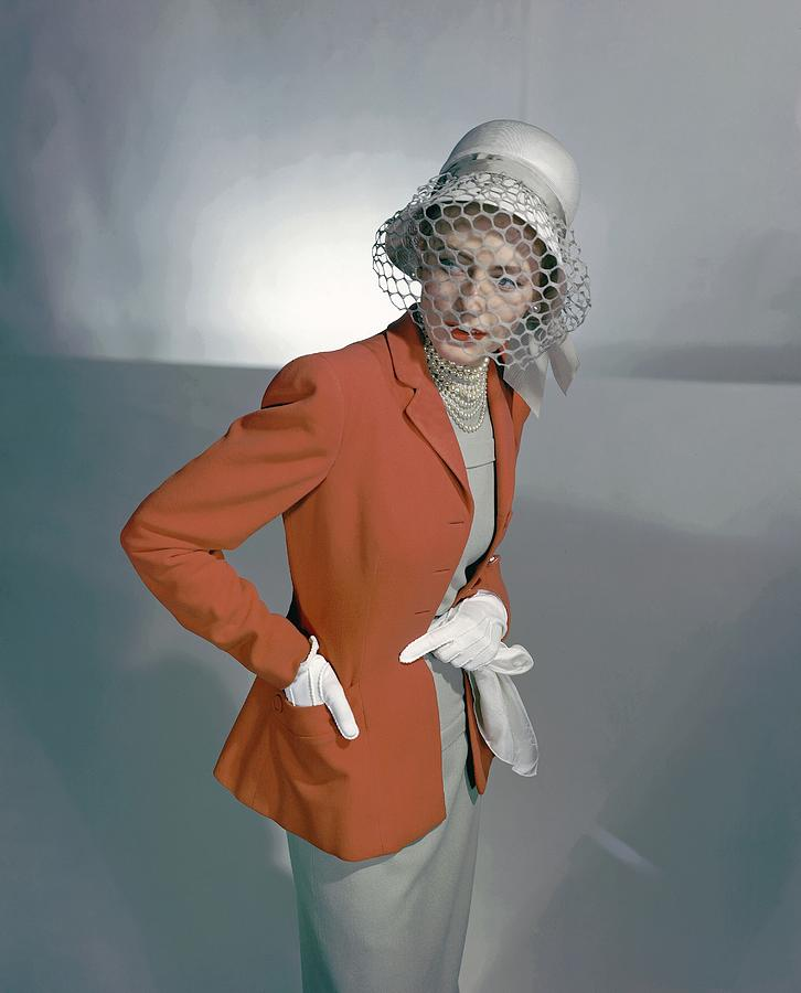 Barbara Tullgren Wearing A Red Jacket Photograph by Horst P. Horst