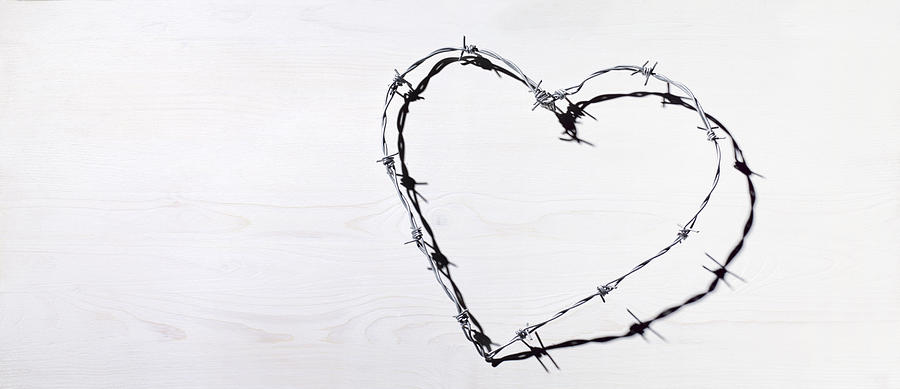 Barbed wire heart love and romance Photograph by Peter Dazeley