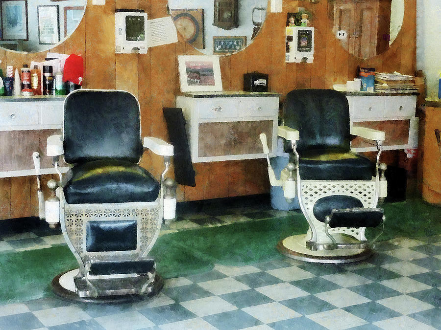 Barber Photograph - Barber - Corner Barber Shop Two Chairs by Susan Savad