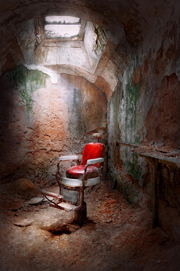 Jail Photograph - Barber - Eastern State Penitentiary - Remembering My Last Haircut  by Mike Savad