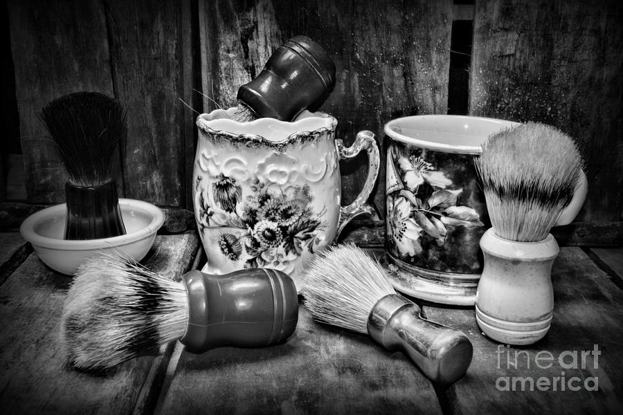 Barber Shaving Mugs And Brushes In Black And White