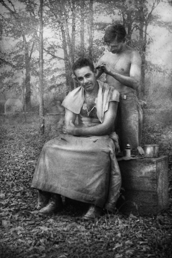 Barber Photograph - Barber - Wwii - Gi Haircut by Mike Savad