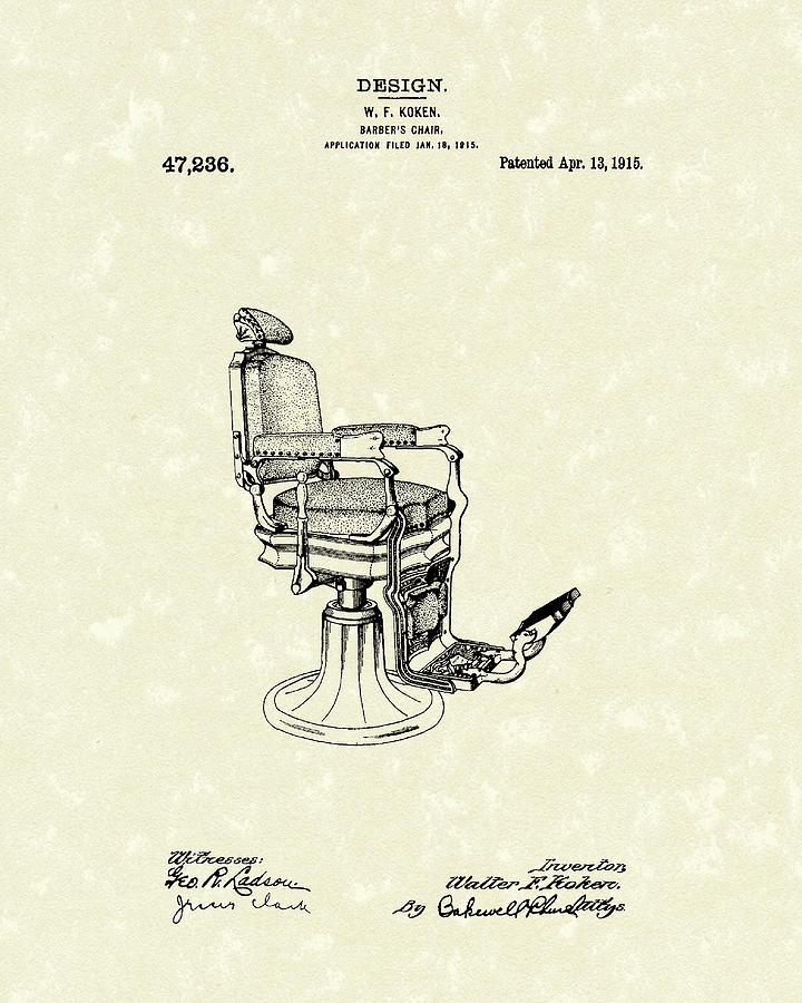 Koken Drawing - Barbers Chair 1915 Patent Art by Prior Art Design