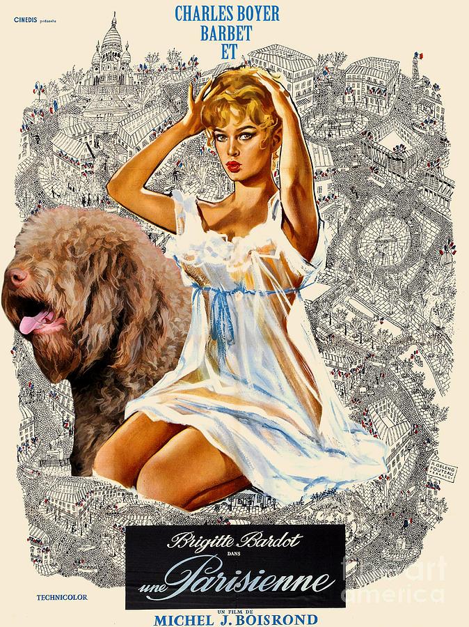 Dog Painting - Barbet Art - Una Parisienne Movie Poster by Sandra Sij