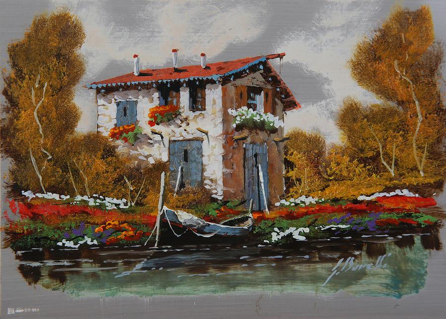 Landscape Painting - Barca Al Molo by Guido Borelli