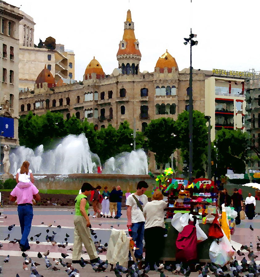 Barcelona Photograph - Barcelona - Abstract - Plaza De Catalunia by Jacqueline M Lewis