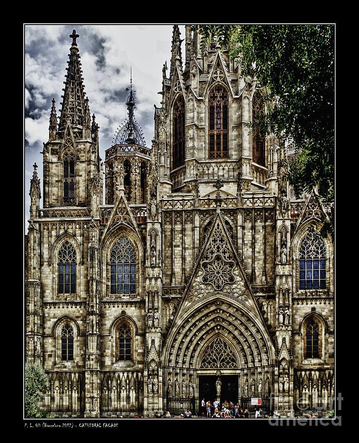 Church Photograph - Barcelona Cathedral Facade by Pedro L Gili