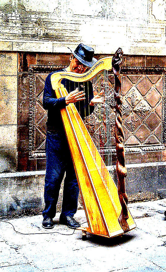 Harpist Photograph - Barcelona  by Dana Patterson