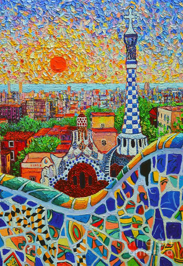 Barcelona Painting - Barcelona Sunrise - Guell Park - Gaudi Tower by Ana Maria Edulescu