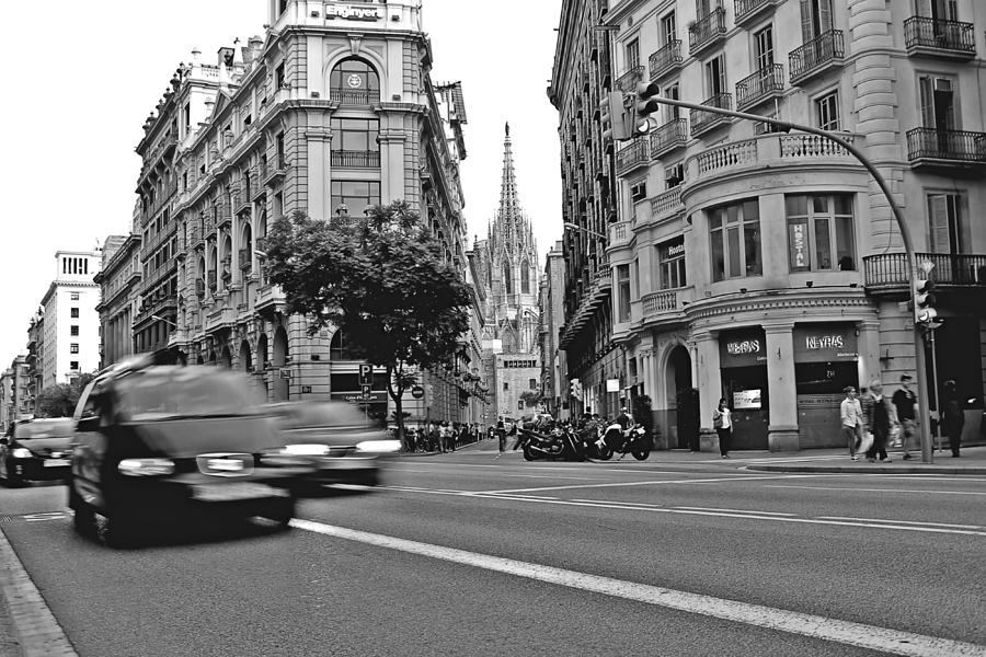 City Photograph - Barcelona Traffic by Jon Cotroneo