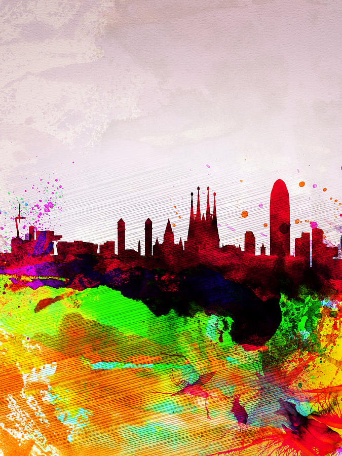 Barcelona Painting - Barcelona Watercolor Skyline by Naxart Studio