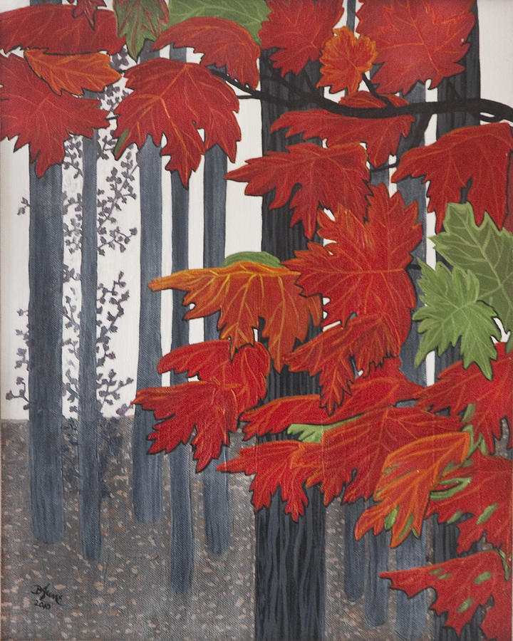 Red Leaves Painting - Barcode by BJ Hilton Hitchcock