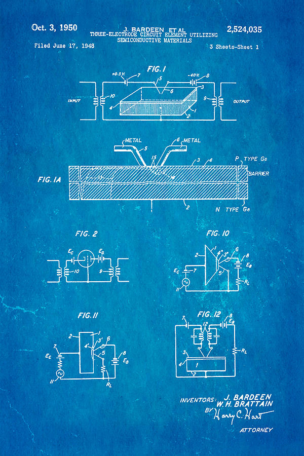 Electricity Photograph - Bardeen Transistor Patent Art 1950 Blueprint by Ian Monk