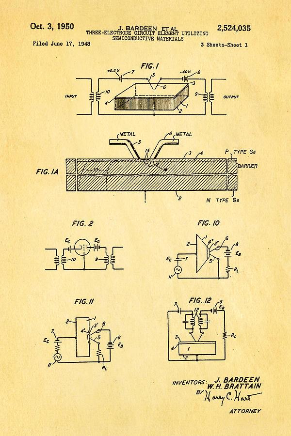 Electricity Photograph - Bardeen Transistor Patent Art 1950 by Ian Monk