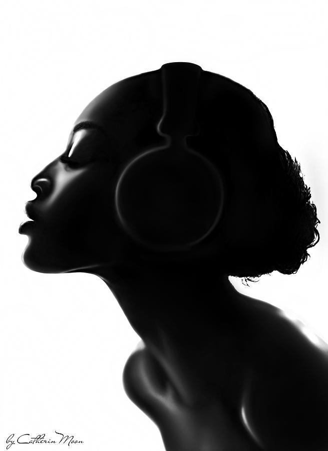 Black Digital Art - Bare Soul by Catherin Moon