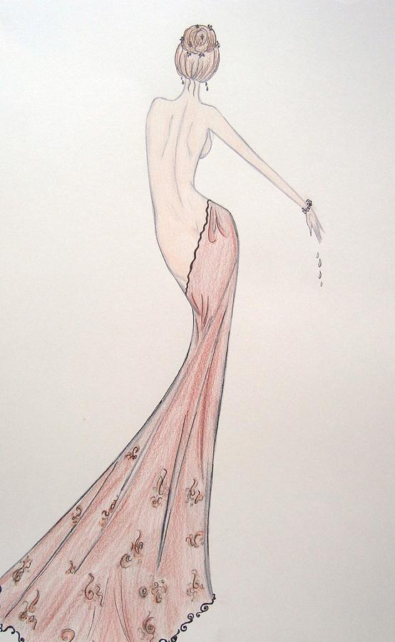 Nude Women Drawing - Barely Draped by Christine Corretti