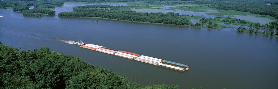 Color Image Photograph - Barge In A River, Mississippi River by Panoramic Images