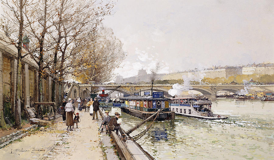 Barge Painting - Barges On The Seine by Eugene Galien-Laloue