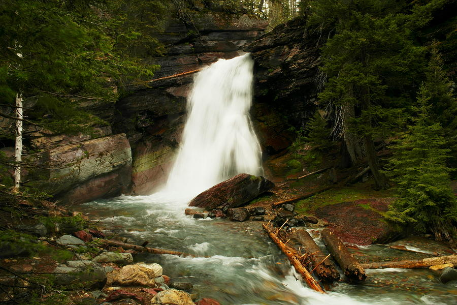 Water Photograph - Baring Falls Glacier National Park Montana by Jeff Swan