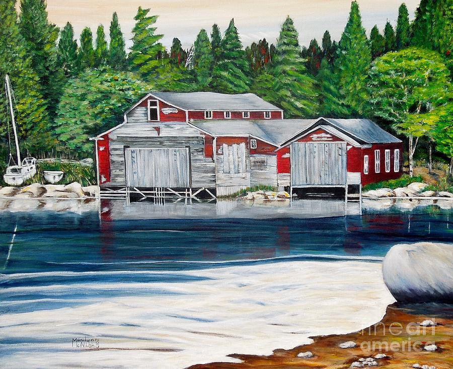 Barkhouse Painting - Barkhouse Boatshed by Marilyn  McNish