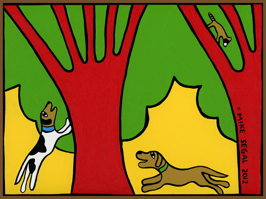Dog Painting - Barking Up The Wrong Tree by Mike Segal