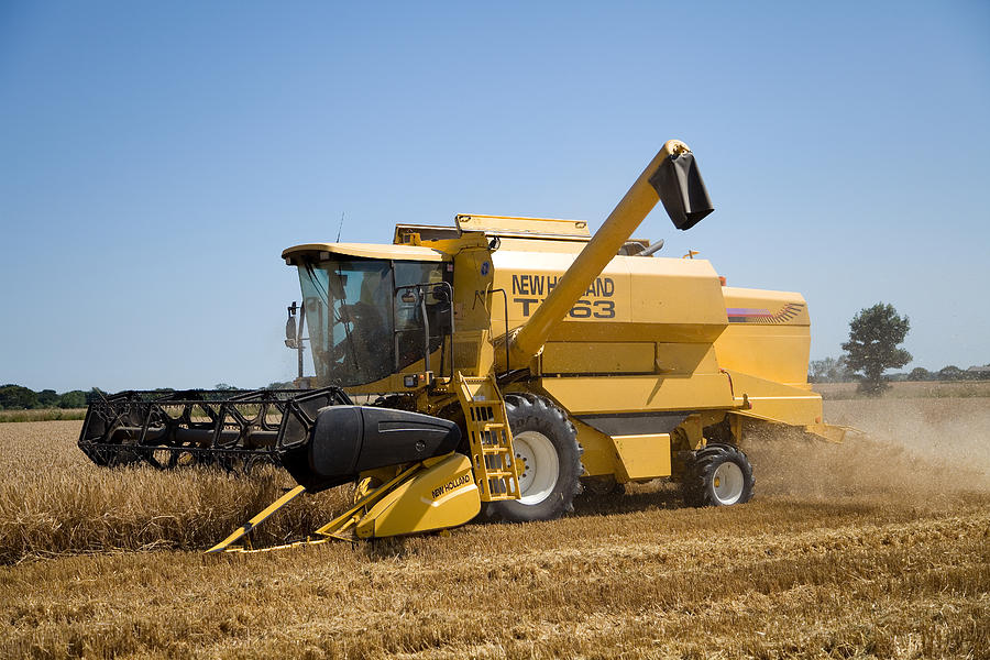 Combine Harvester Photograph - Barley Harvest 2 by Paul Lilley