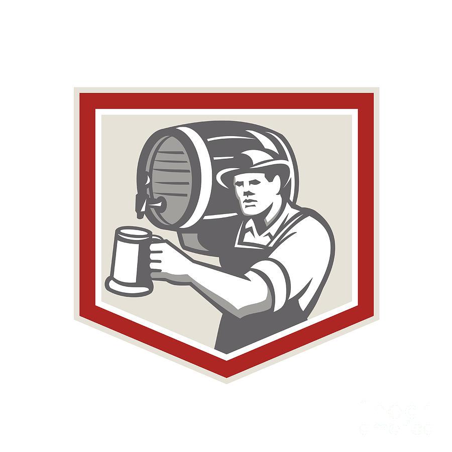 Barman Digital Art - Barman Lifting Barrel Pouring Beer Mug Retro by Aloysius Patrimonio
