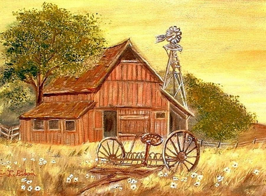 Barn  -  Windmill  -  Old Rake Painting by Kenneth LePoidevin