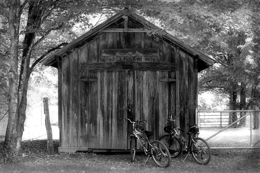 Barn Photograph - Barn And Bikes by Paulette Maffucci
