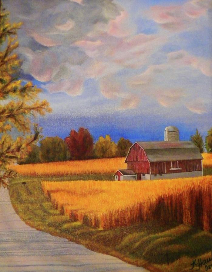 Barn And The Corn Field Painting By Kristina Hauk