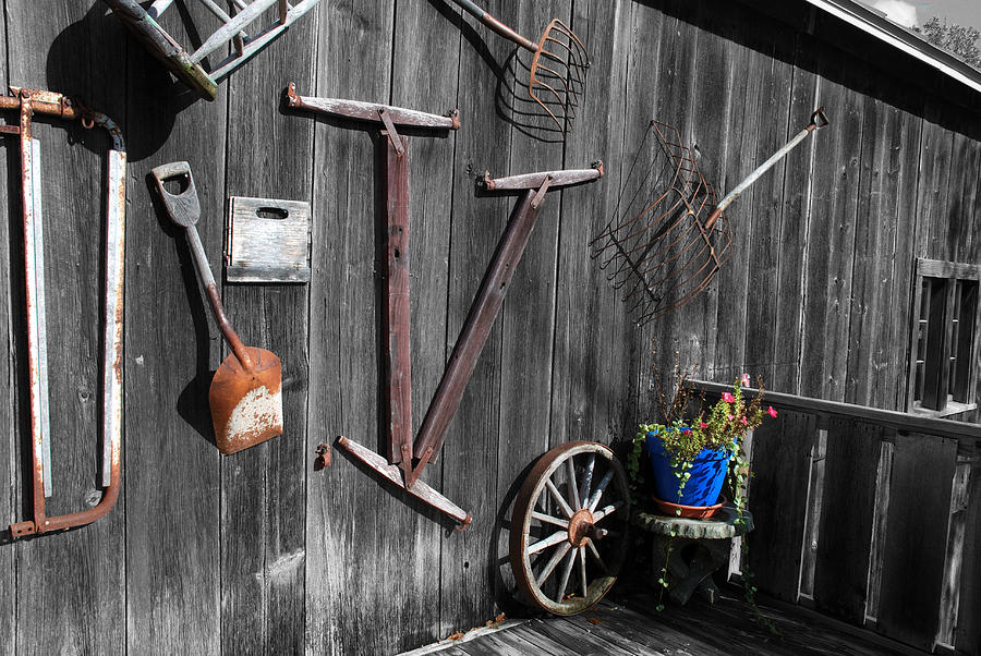 Malone Photograph - Barn Art No.3 - Color On Black And White by Janice Adomeit