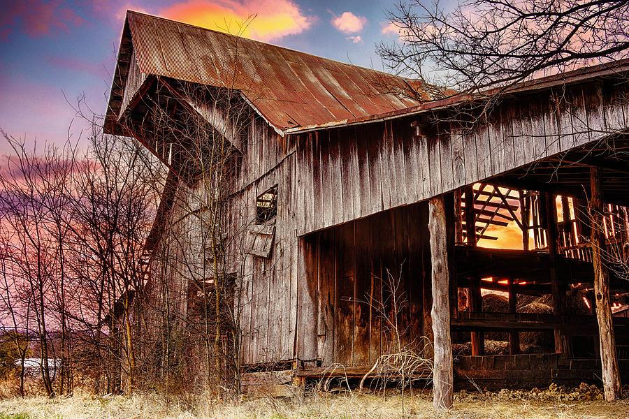 Barn Photograph - Barn At Sunset by Brett Engle