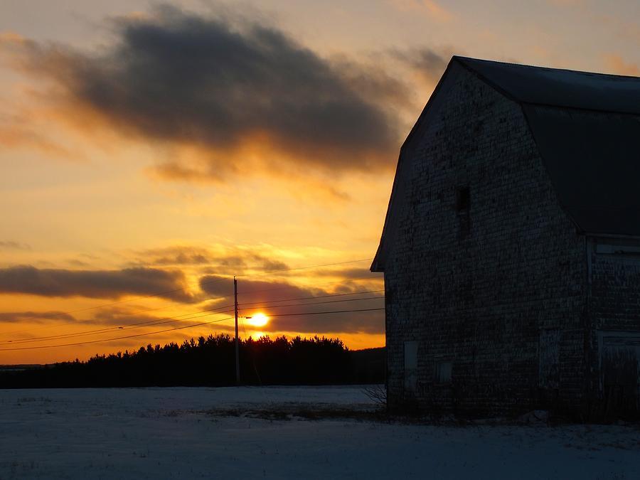 Sunset Photograph - Barn At Sunset by Gene Cyr