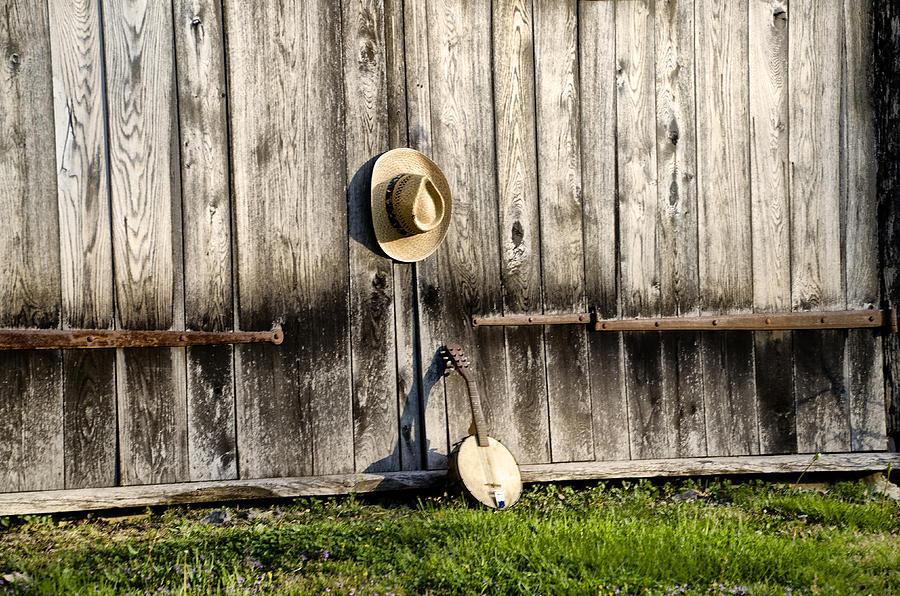 Barn Photograph - Barn Door And Banjo Mandolin by Bill Cannon