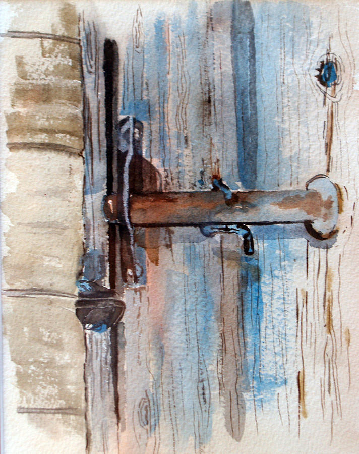 Barn Door Latch Painting By Susan Crossman Buscho