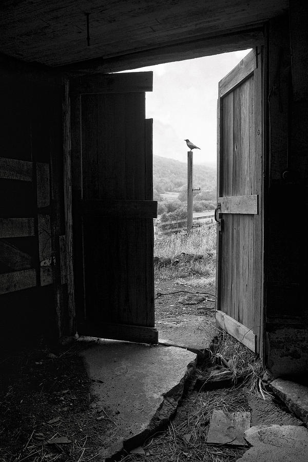 Black And White Photograph - Barn Door - View From Within - Old Barn Picture by Gary Heller