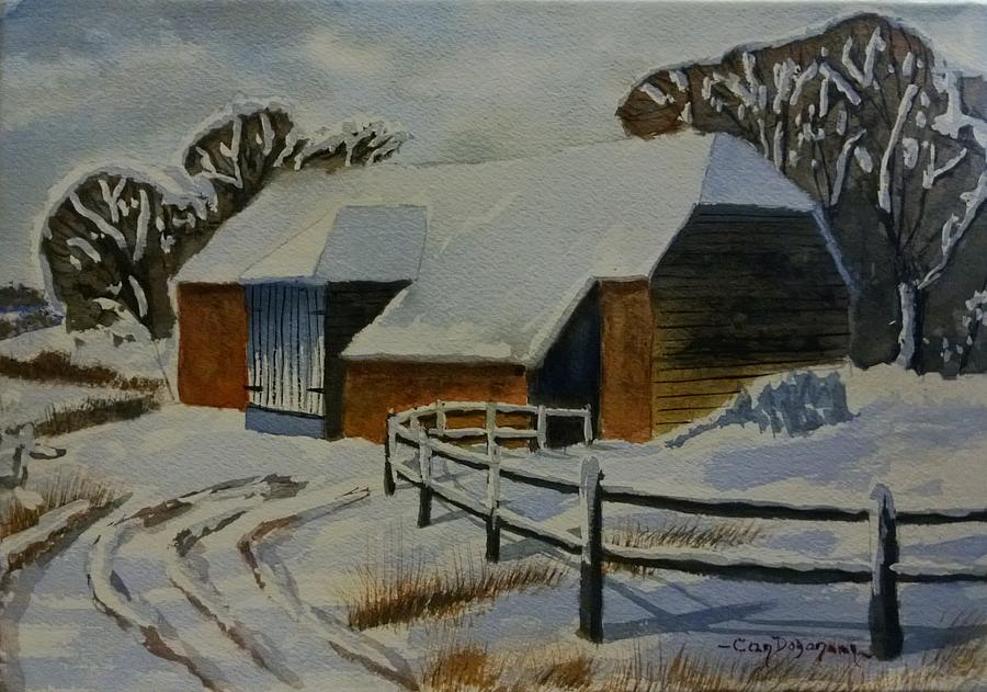 Landscape Painting - Barn In Snow by Can Dogancan