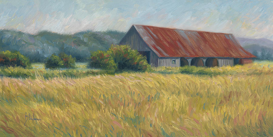 Barn Painting - Barn In The Field by Lucie Bilodeau