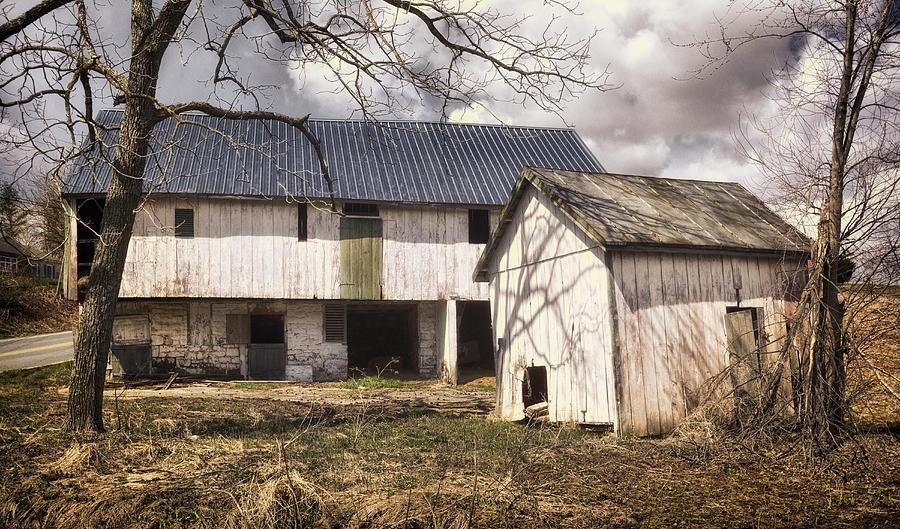 Agriculture Photograph - Barn Near Utica Mills Covered Bridge by Joan Carroll