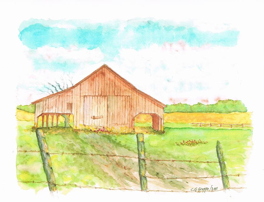 Watercolors Painting - Barn - New Mexico by Carlos G Groppa