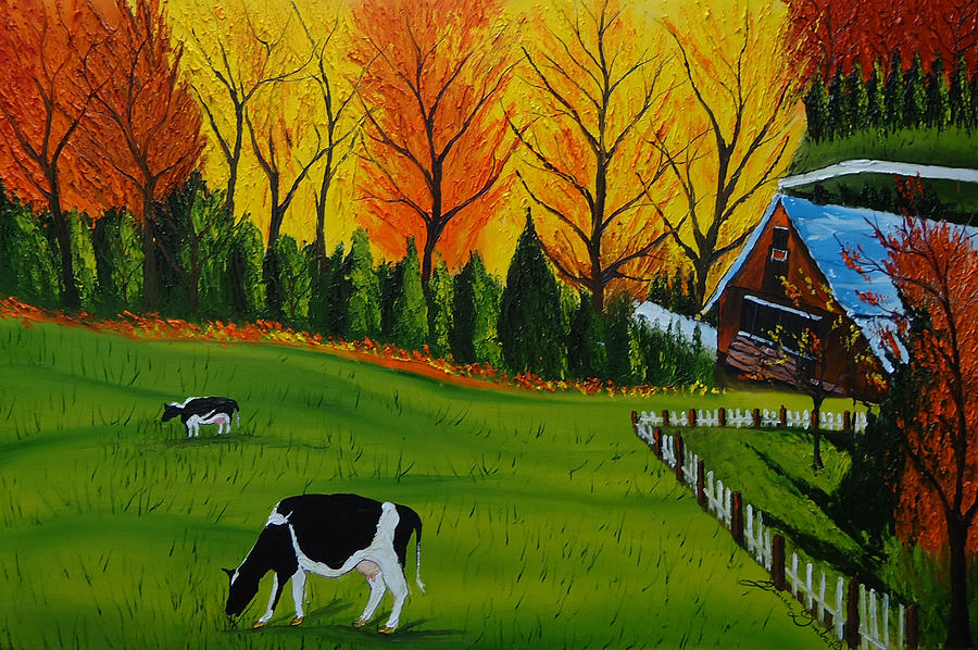 Barn Of Autumn 2 Painting by Portland Art Creations