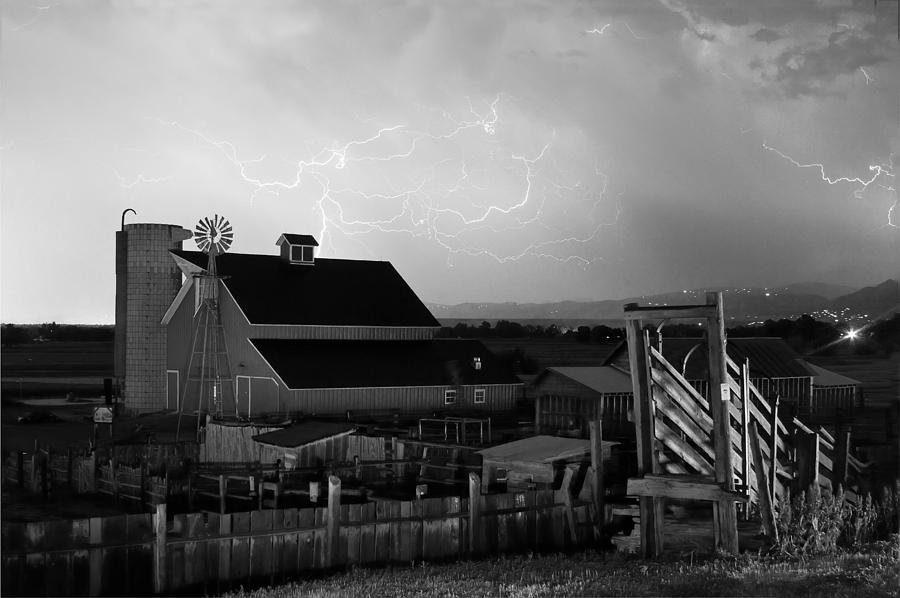 Lightning Photograph - Barn On The Farm And Lightning Thunderstorm Bw by James BO  Insogna