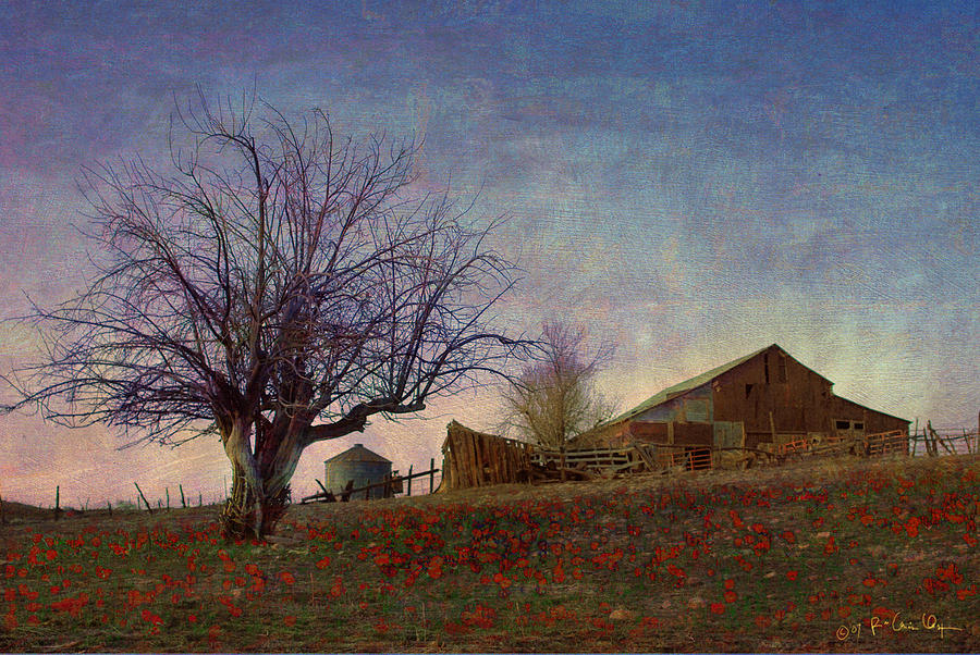 Barn Painting - Barn On The Hill - Big Sky by R christopher Vest