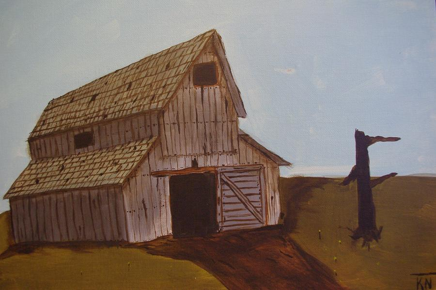 Barn Painting - Barn On The Hill by Keith Nichols