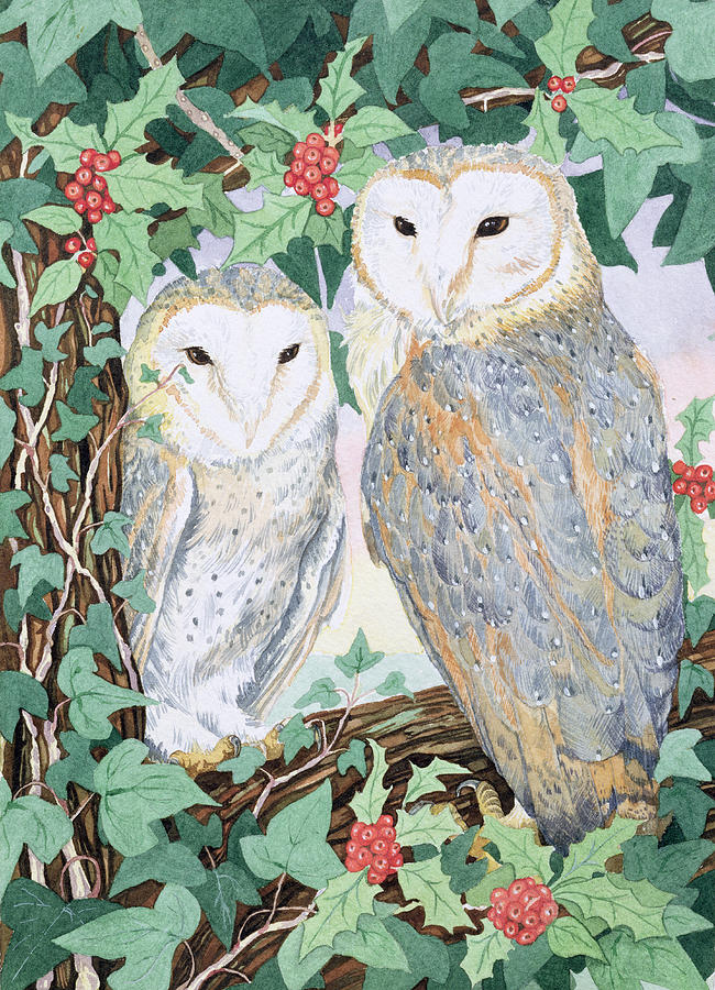 Woodland Painting - Barn Owls by Suzanne Bailey
