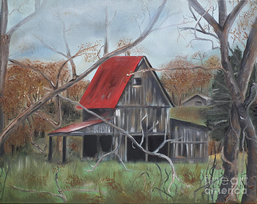 Barn Red Roof Autumn Painting By Jan Dappen