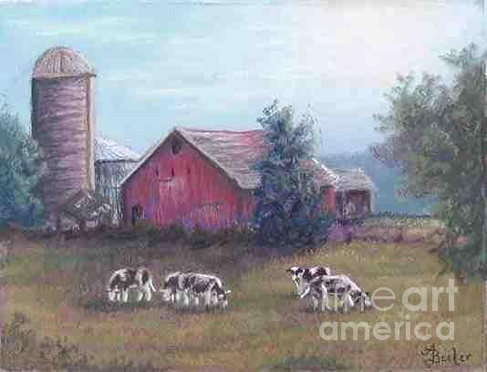 Barn Scene Holsteins Pastel by Ann Becker