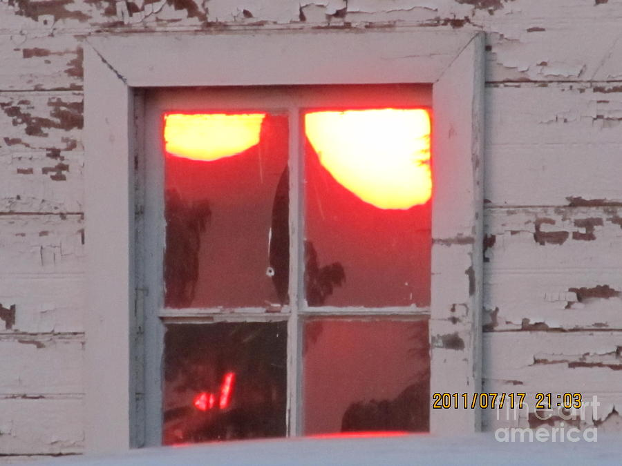 Barn Photograph - Barn Window Sunset Up Close by Tina M Wenger