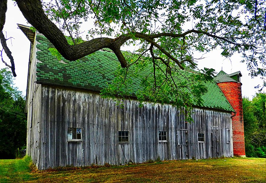 Old Barns Photograph - Barn With Brick Silo by Julie Dant