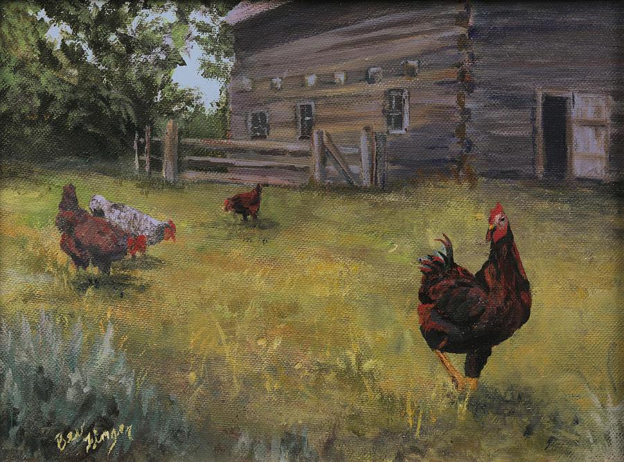 Chicks Painting - Barn Yard Boss by Bev Finger